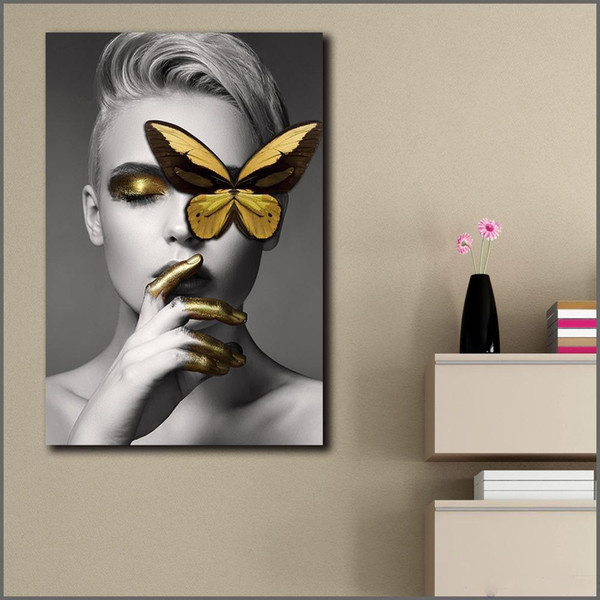 1 Panel Canvas Painting Wall Art Pictures Prints Golden Butterfly Woman Wall Art For Living Room Home Decor Posters and Print No Frame