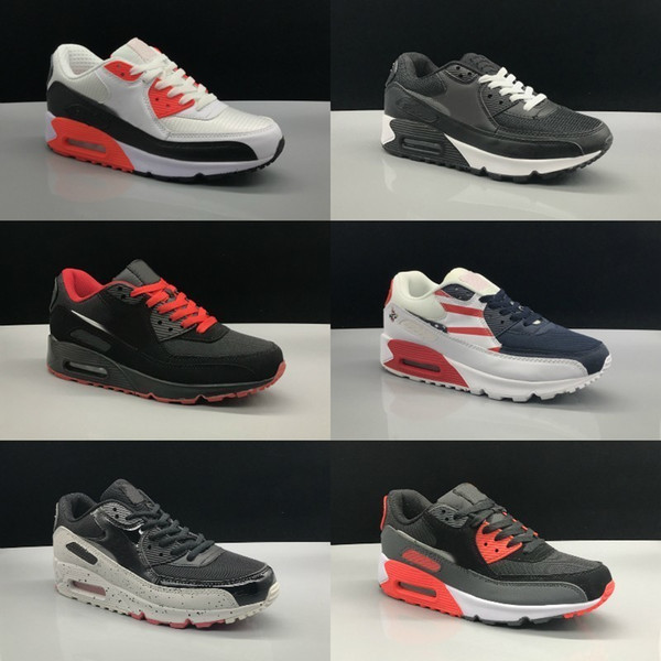 Sale 2019 New 90 Running Shoes Mens Women Cheap Black White Red Air Cushion 90s Sneakers Classic Air90 Trainer Sports Shoe