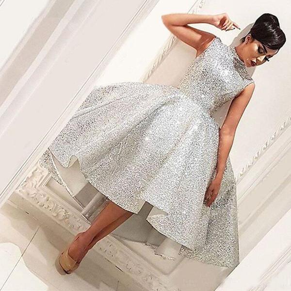 Bling robes de soirée courtes 2019 robe de thé thé longueur Seuqins islamique Dubaï Arabie saoudite longue robe de soirée formelle robes de bal