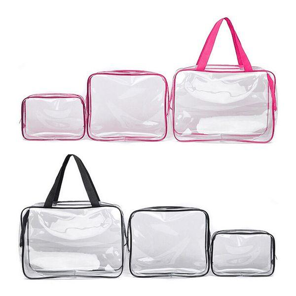 Bolsa de plástico portátil de 3 piezas con cremallera Bolsa de viaje transparente colgante Bolsa de maquillaje portátil de tocador Organizador de viaje