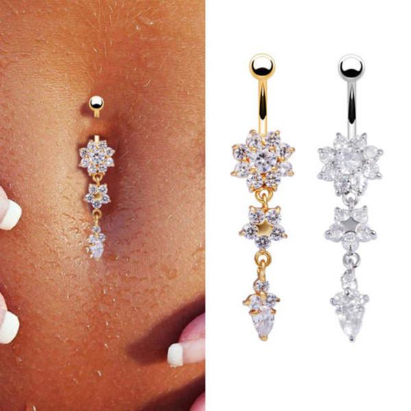 Livraison Gratuite Hot New Jeweled Ventre Bouton Anneaux En Acier Chirurgical gouttelettes D'eau Fleur CZ Nombril Anneaux HJ253