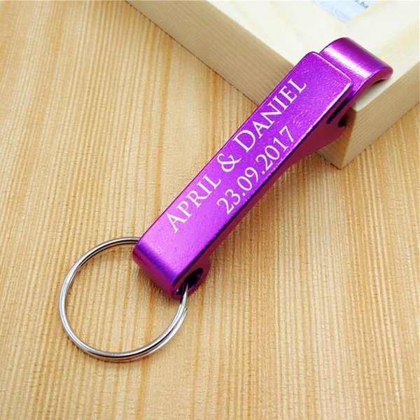 Personalized Beer Opener Multi Color Keychain Ring Aluminum Alloy Bottle Opener Wedding Gift Kitchen Bar Tools