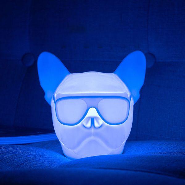 USB Charging Night Light Dog Head Bulldog RGB Atmospheric Light Touch Sound Control Sensor Switch White