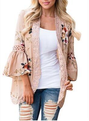 Mode Chiffon Mantel Für Frauen Outwear Flare Hülse Häkelspitze Frühling Herbst Casual Print Öffnen Stich Damen Kleider 7 Farben S-2XL