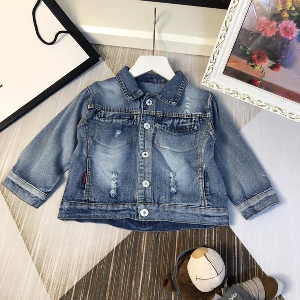 Enfants veste enfants vêtements de marque automne garçons et filles veste en jean mode trou style veste simple style moderne taille 90-130cm