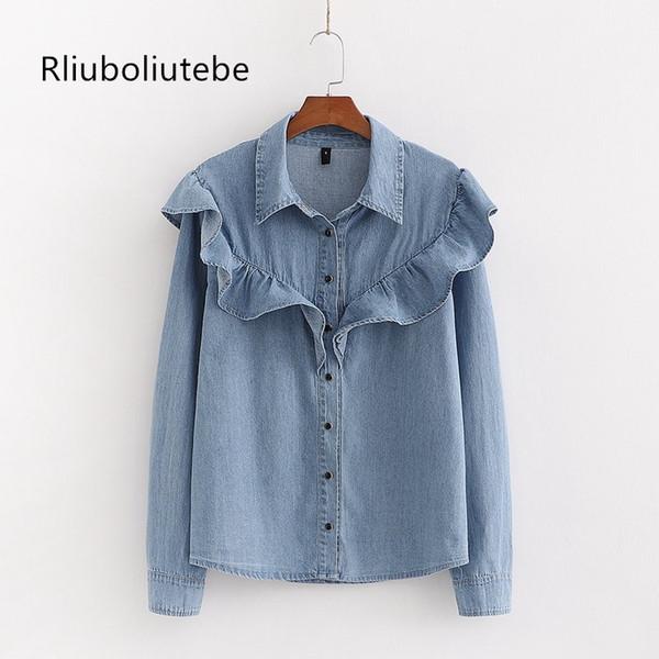 vintage femmes chemise en jean froissée chemisier élégant boutons à manches longues Hauts femmes chemises printemps jeans dames chemisiers