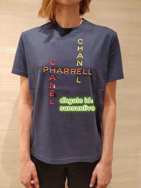 Lentejuelas de las mujeres con perlas camiseta de la marca de las letras de las letras camiseta de la camiseta Tops ropa de gama alta camiseta personalizada personalizada camiseta de verano 2019