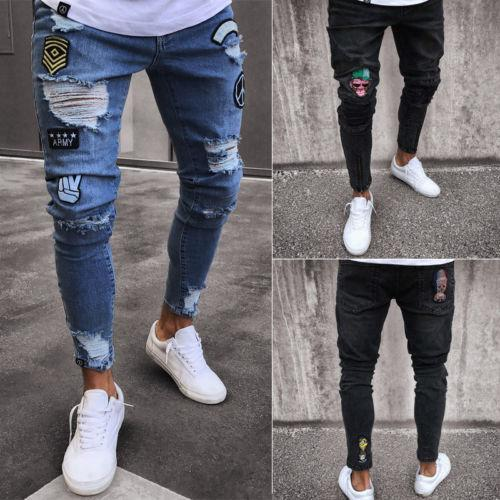 Fashion Mens Stretchy Ripped Skinny Biker Jeans Destroyed Taped Slim Fit Denim Hip Hop Pant Rip Long Troursers