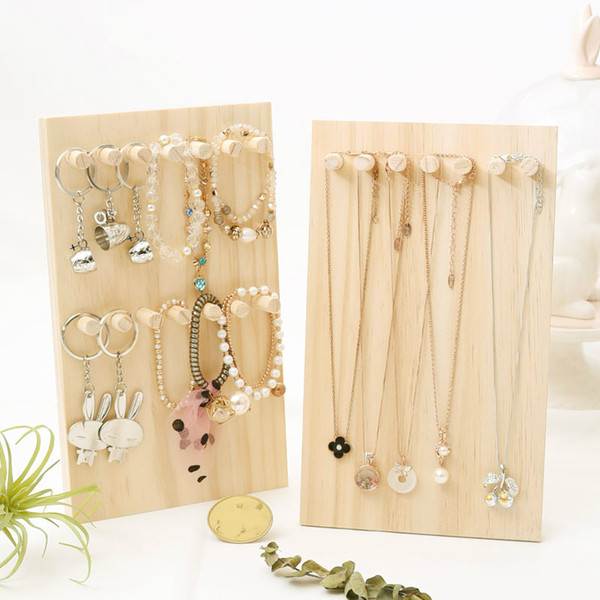 [DDisplay]Nature Solid Wood Necklace Jewelry Stand Creative Pendant Display Stand Pine Wooden Bracelet Collection Window Display