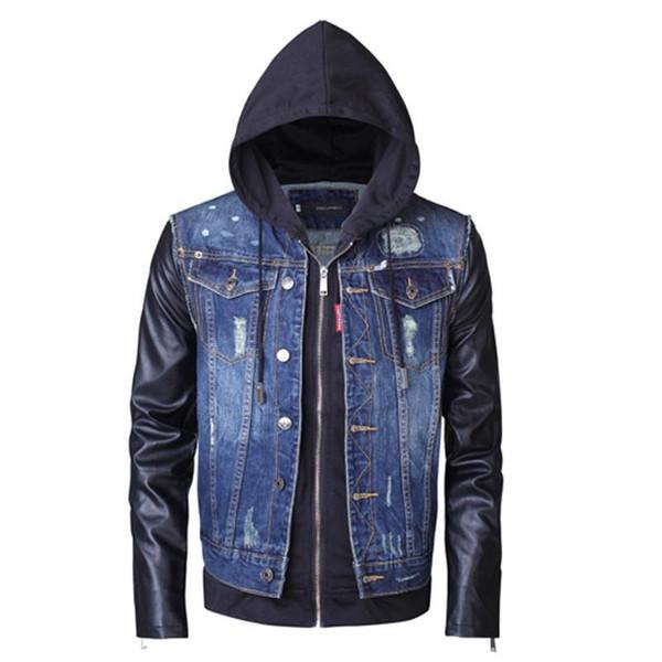 2019 nuovo modo giacca a vento caldo di vendita Raschiare PU cucitura Zipper Hooded Slim Mens Designer rivestimenti Streetwear Coat formato S-2XL