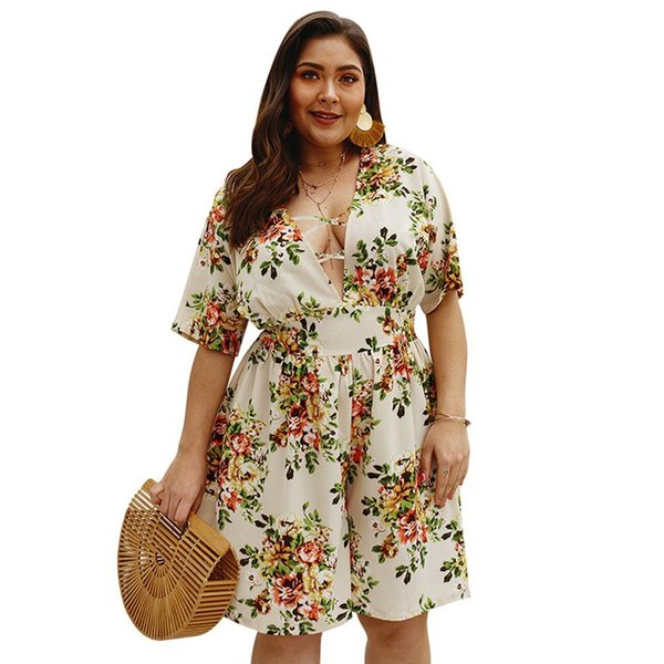 Floral Print Jumpsuit Shorts Women Deep V Sexy Plus Size Boho Chiffon Casual Rompers Loose Fashion Sweet Beach Summer Playsuit