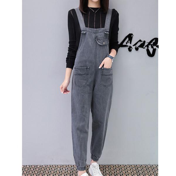 2019 New Women Solid High Waist Jumpsuits Vintage Pockets Denim Harem Jumpsuit Loose Rompers Casual Overalls