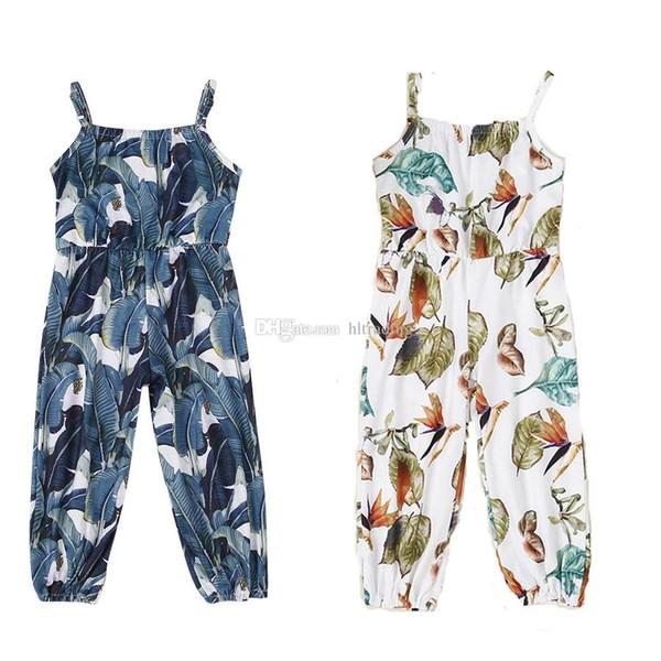 дети дизайнер одежды девушки цветочные ползунки Детские подтяжки лист печати комбинезоны 2019 летний бутик Boho детские ремень брюки C6578