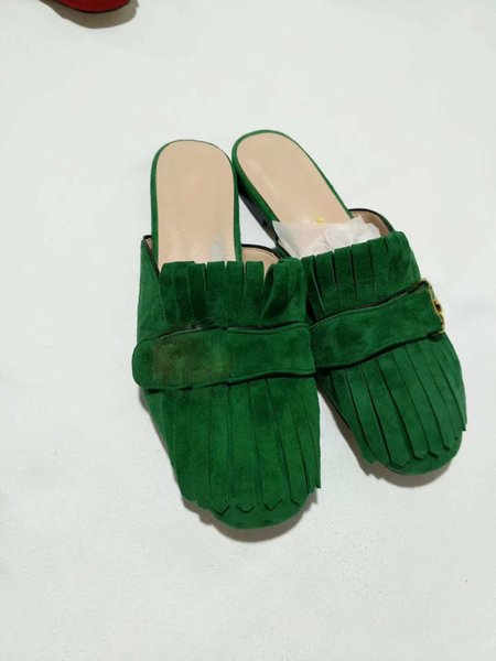2019 Yeni kadın moda yumuşak deri süet terlik kızlar rahat yaz yeşil kapalı toe düz slaytlar kırmızı flop ayakkabı bayan büyük boy 41 9 # LB19
