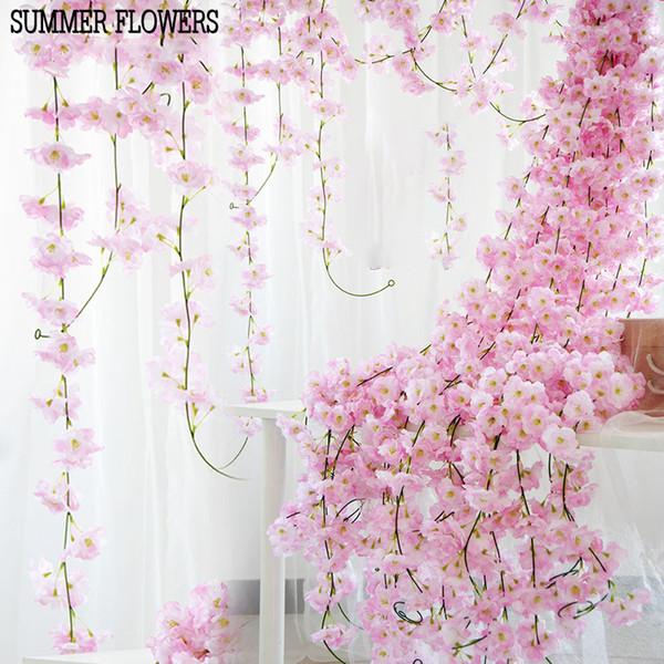 200 cm Artificial flores de cerezo de la flor decoración de la boda DIY rota guirnalda simulación flores vine pared colgante corona KKA6968