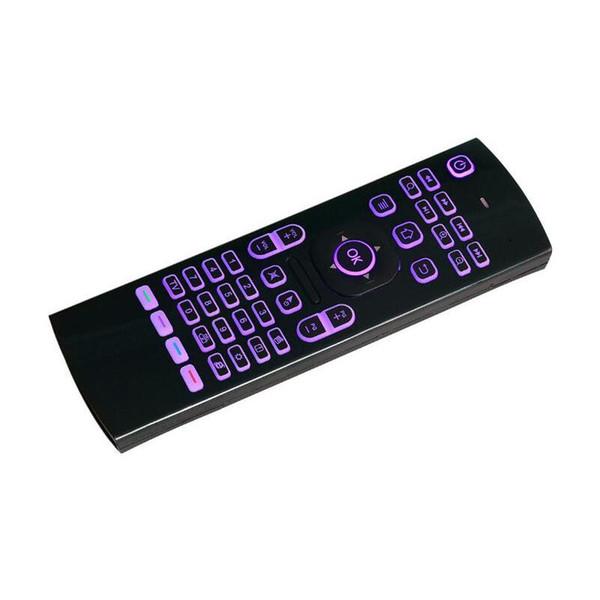 Top 2.4GHz MX3 tastiera mouse laser volante Qwerty telecomando wireless a infrarossi per l'apprendimento dell'aria per Android TV box 7 colore RGB retroilluminato keybo