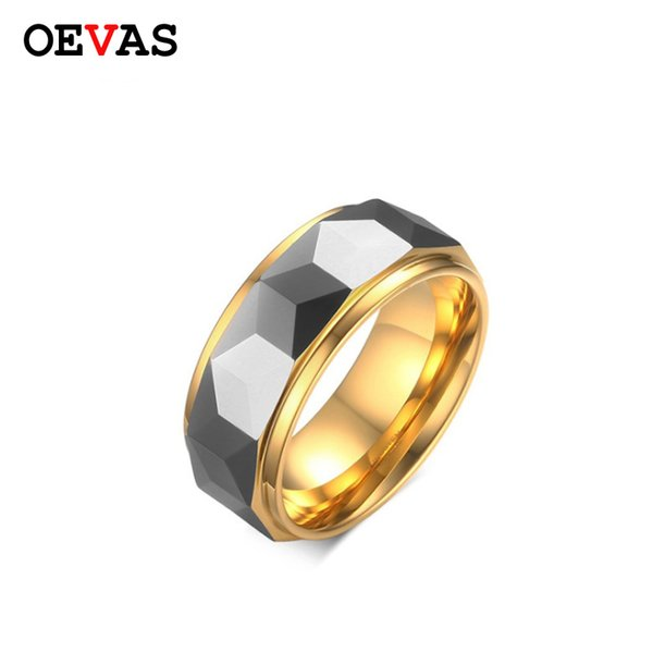 High quality Gold color 8mm Tungsten Carbide men ring US Size 6 7 8 9 10 11 12 best gift for boyfriend Valentine's Day present