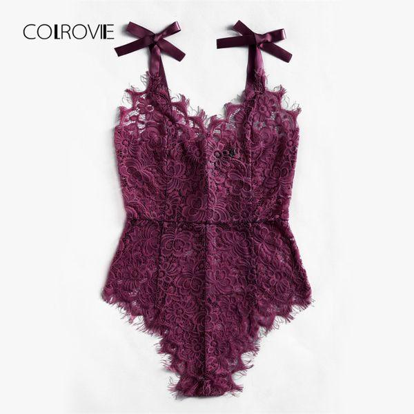 COLROVIE Sexy Body Lila V-Ausschnitt Strap Ärmellos Rückenfreies Spitzen Body Ribbon Tie Schulter Floral Skinny