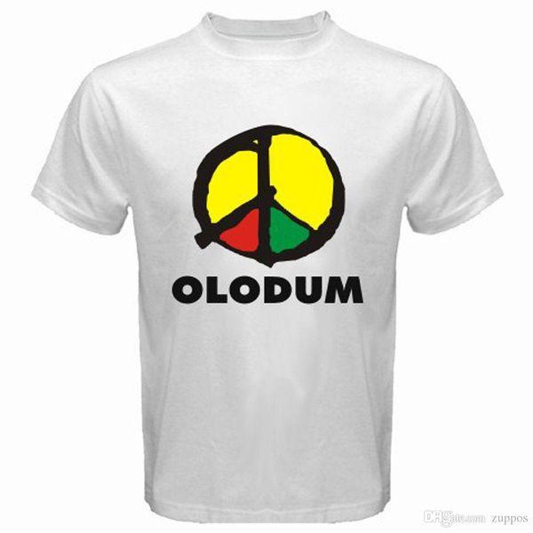New OLODUM Brazil Music Retro Peace Logo Men's White T-Shirt Size S to 3XL Funny Crew Neck Short-Sleeve T Shirt