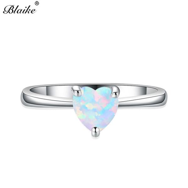 Blaike mystic weiß / blau opal stein herz ring fahion 925 silber gefüllt regenbogen zirkon birthstone ringe für frauen valentinstag geschenk