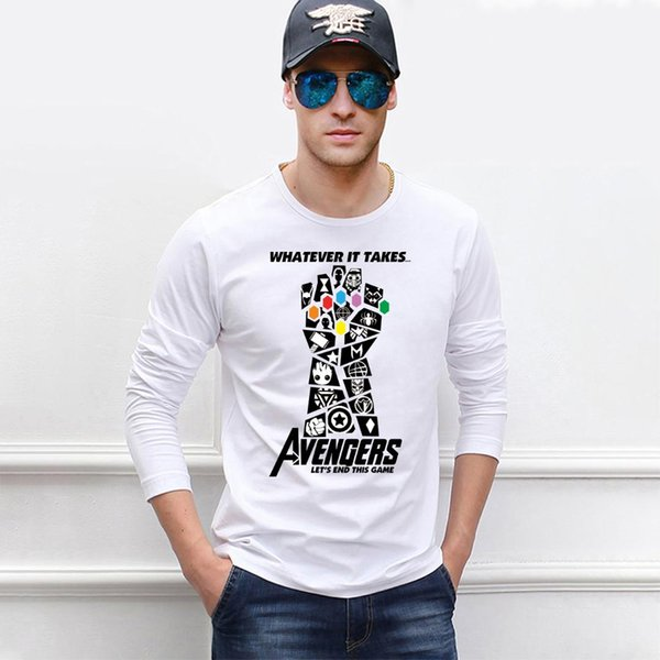 Whatever It Takes End Game Mens Long Sleeve T Shirt Infinity Stone Thanos Movie Tops Tees Casual Cotton New Streetwear