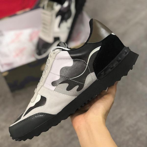 Мужского Rockrunner Камуфляж обуви мода роскоши дизайнер женщины тапок ботинки из натуральной кожи Mens женщин Flats вскользь тренер размера 35-45 C17
