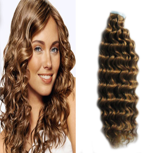 deep wave tape in human hair extensions 40 pcs virgin brazilian wave hair PU Skin weft tape on / in remy hair extensions #4 Dark Brown