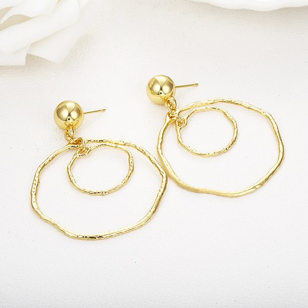 e0491 handmade fashion simple geometric circular marble long earrings temperament girls popular stud earrings european jewelry