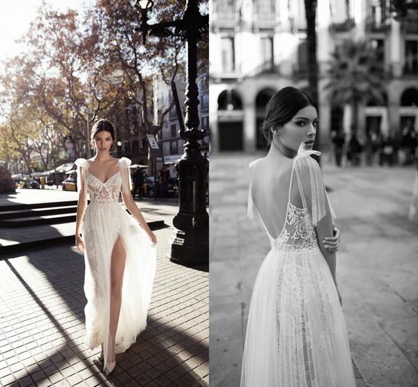 918e66d84156 2019 Gali Karten Cape Sleeve Wedding Dresses Side Split Sexy Backless Lace  Floor Length Sheath Wedding Dresses Bridal Gown Custom Made