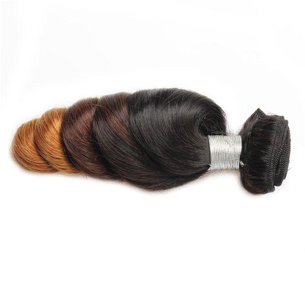 51Ombre3tone solto Wave100g / pcs2019The mais recente corpo tricolor, cabelos encaracolados fêmea, cabelo humano absoluto, cor gradiente de grande onda cabelo encaracolado cortina