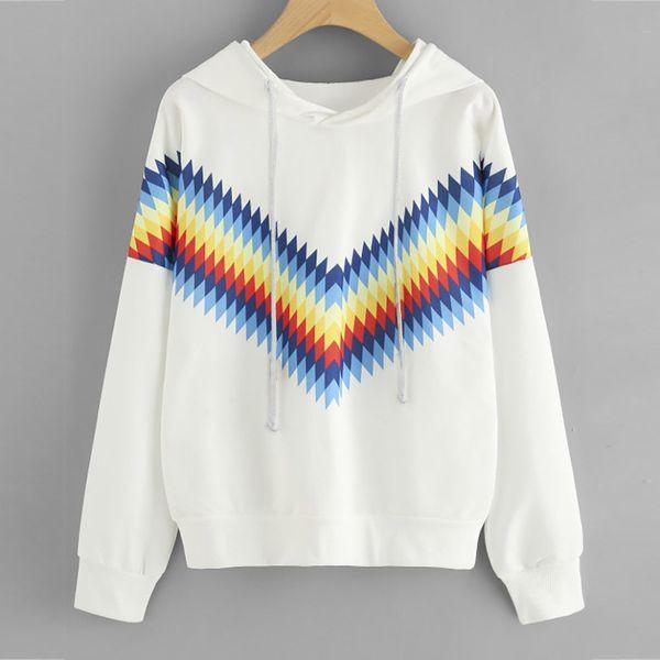Mujer Chica Geometría Imprimir Blusa Manga larga Casual Crop Jumper Pullover Sudadera Tops Blusa blanca Blusa Branca # 10T