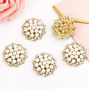 30mm Pearl Rhinstone Flower Craft Buttons Decoración Adorno para la boda Novia Cinturón Flower Center Hair Crown 20 piezas