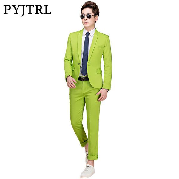 Pyjtrl M-5xl Tide Men Colorful Fashion Wedding Plus Size Yellow Pink Green Blue Purple Suits Jacket Pants Tuxedos C190416