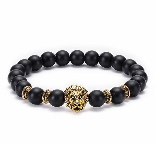 Radiation protection Black scrub leopard lion owl 8mm Handmade beading Natural stone bracelet Men's Women's Fashion Diffuser Jewelry 176