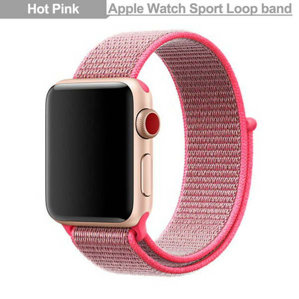 Sports Loop Band Apple Watch Nylon Strap iWatch to fit Series 2 3 4 38/40/42/44,hot pink