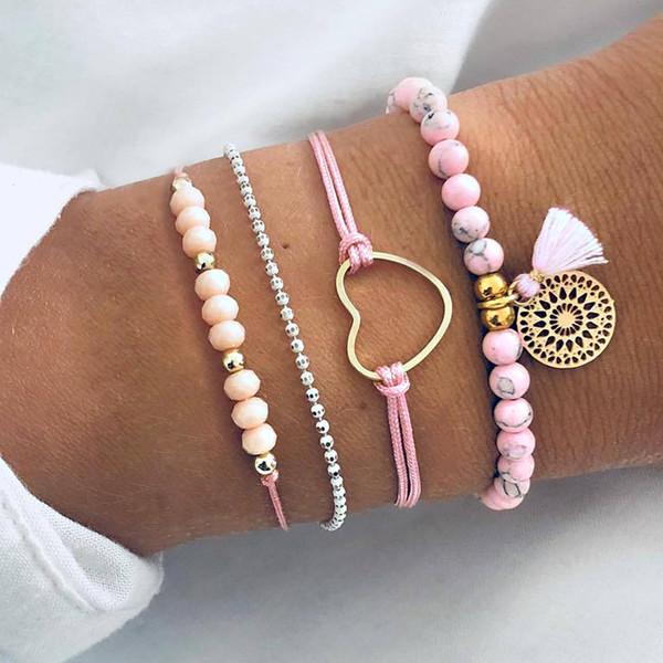 Hand-made Beaded bracelet sets 4pcs braided chain love ship anchor fringe Bracelet color collision suit handwear gift for girls