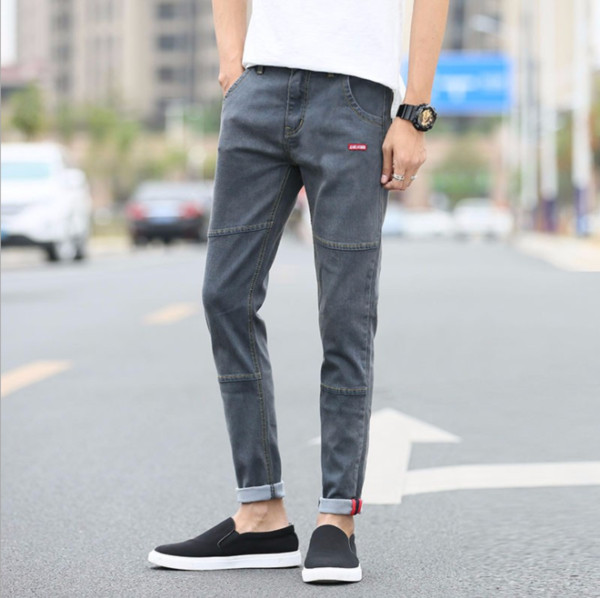 pure color stretch men's feet pants youth slim casual korean version of 9 pants 1262 - from $24.89