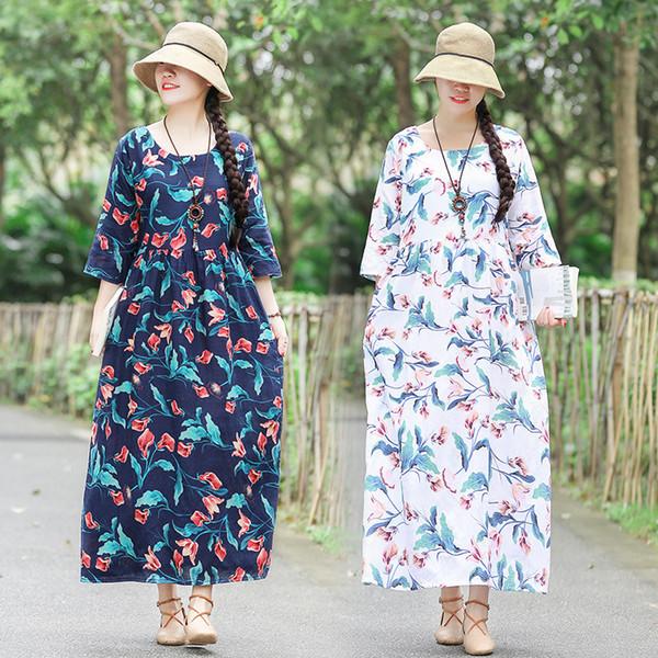 Abito estivo in cotone e lino con stampa floreale confortevole lungo Le signore vestono abiti tradizionali