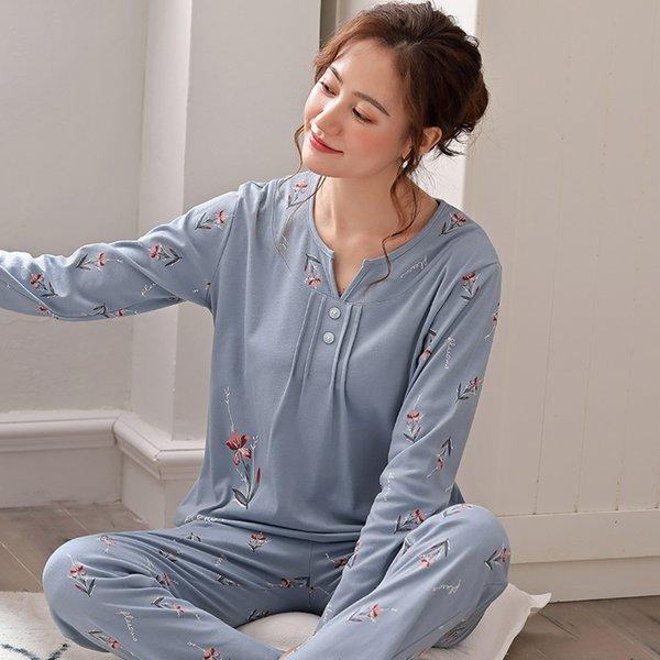 Женская одежда для дома Домашняя одежда Пижамы для женщин Пижамный комплект Пижамный комплект Весна-осень Хлопок с длинным рукавом Пижамные комплекты Цветочная пижама