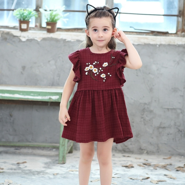Baby Children Frocks 2019 New Sweet Flower Girls Ruffles Sleeves Dresses Kids Princess Girls Rose Embroidery Dress