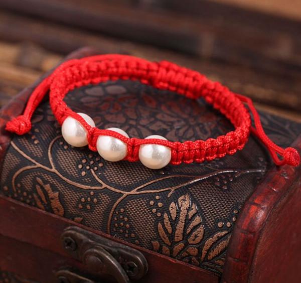 new 20pcs/lot Lucky Kabbalah Red String Pearl Charms Hamsa Bracelets Women Handmade Fatima Friendship Jewelry
