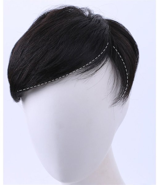 Short Human Hair Wig Toupee Straight Natural Black Short Remy Hairpiece Accesories for Men with Clips ACL019