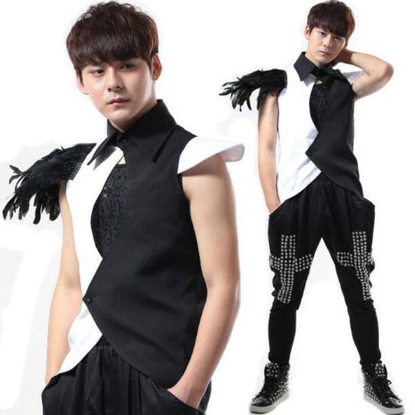 Перо жилет DS костюмы производительности мужской ночной певец бар DJ рубашки рок панк DS корейский костюм