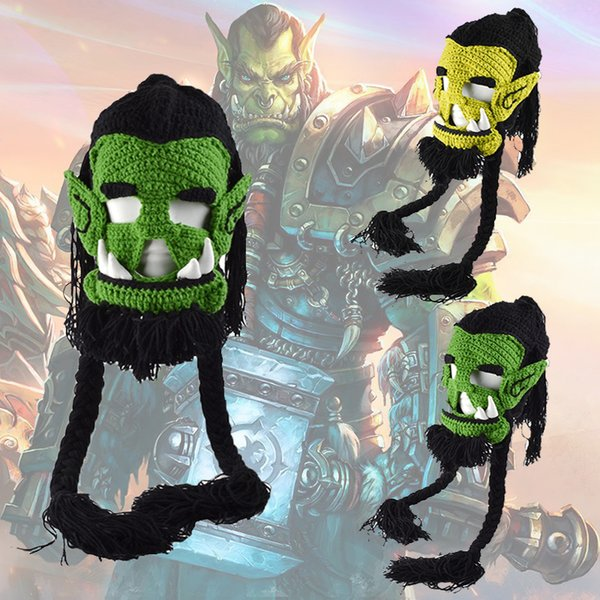 Novelty Winter Caps Men Women Beanies Handmade Crochet Winter Warm Hats Game Thrall Masks Funny Halloween Xmas Party