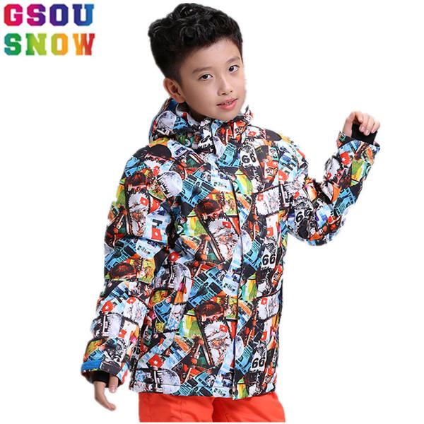 GSOU SNOW winter Kids Ski Jacket Boys Skiing Suit Children Snowboard Jacket Windproof Waterproof Thermal Coats Ski Clothing coat
