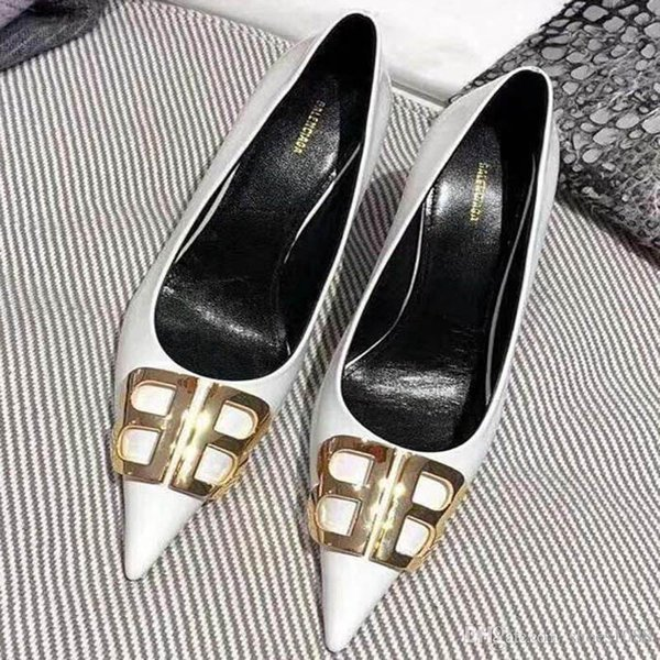 Nueva moda coreana salvaje tacones altos antideslizantes puntiagudos zapatos solos zapatos de tacón alto de lujo de cuero cómodo de tendencia Tamaño 34-42 número: 28-6966