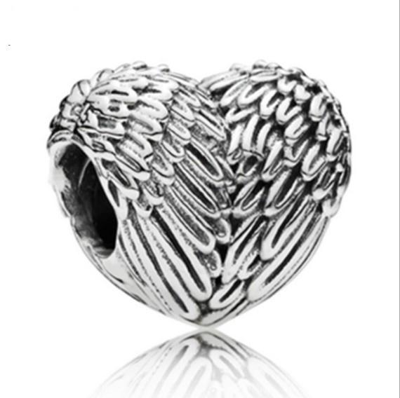 Europäische Silber Überzogene Großes Loch Charms Spacer Lose Perlen Passen Pandora Armbänder 925 Schmuck Flügel eines Engels zum Verkauf Mädchen Mutter Herzform