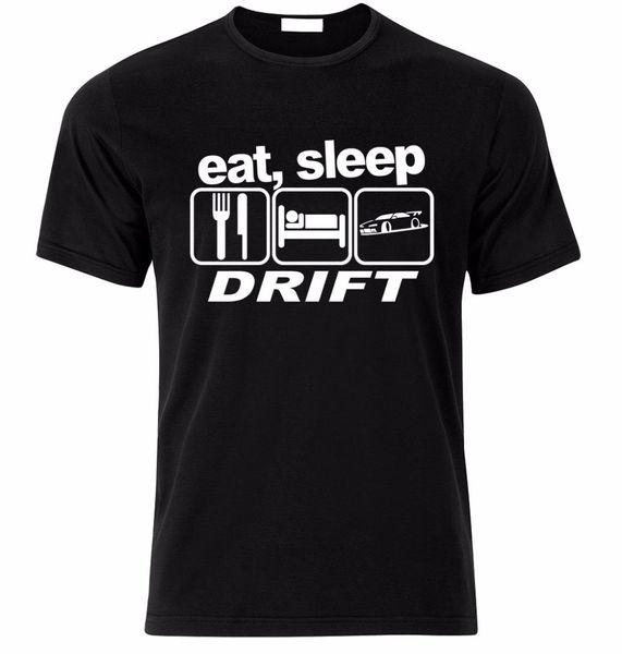 T Gömlek 2019 Moda Erkekler Sıcak Satış Erkekler T Gömlek Moda Yemek Uyku Sürüklenme Basit Kısa Kollu Pamuklu T Gömlek