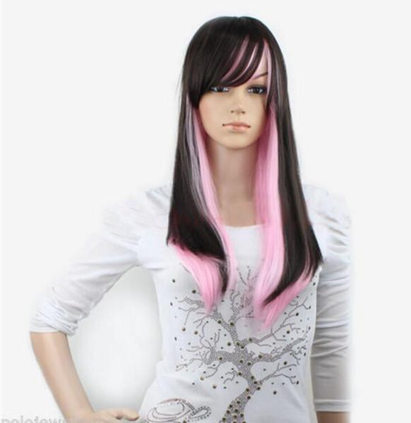 Парик WBY термостойкие волосы партии новый косплей мода черный розовый микс длинные прямые женщины полный парики