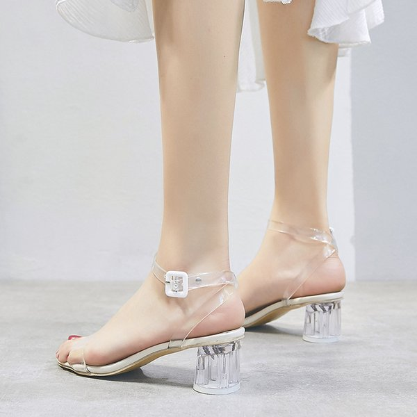 2019 Hot Selling Item Summer Fashion Vogue Shoes High Heeled Clear Pure Color Transparent Plastic Sandals for Women Ladies Girls Slippers